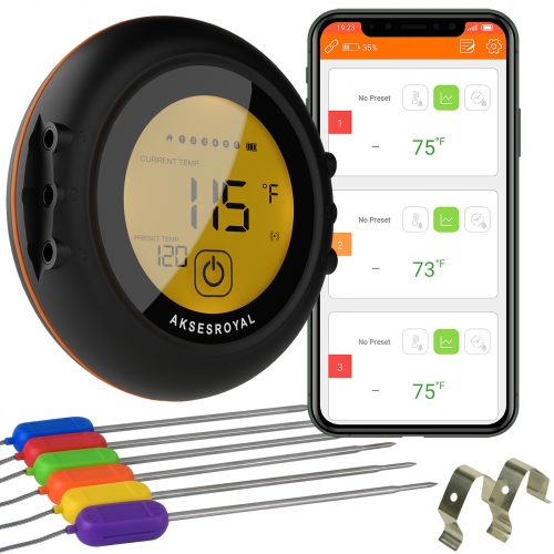 Aksesroyal Meat Thermometer with 6 probes