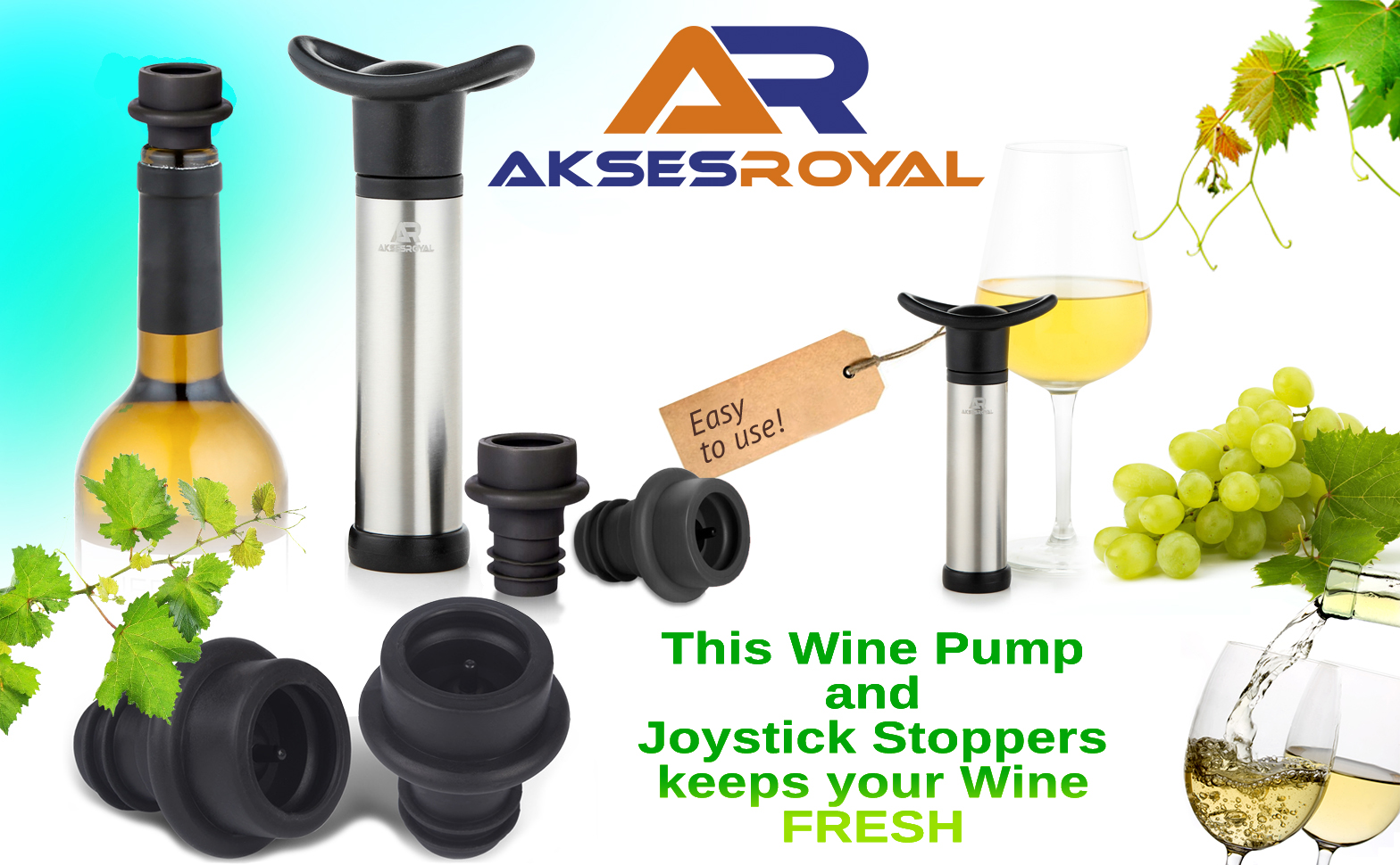 Wine Saver Vacuum Pump Preserver from AKSESROYAL with 4 Joystick Air Bottle Stoppers